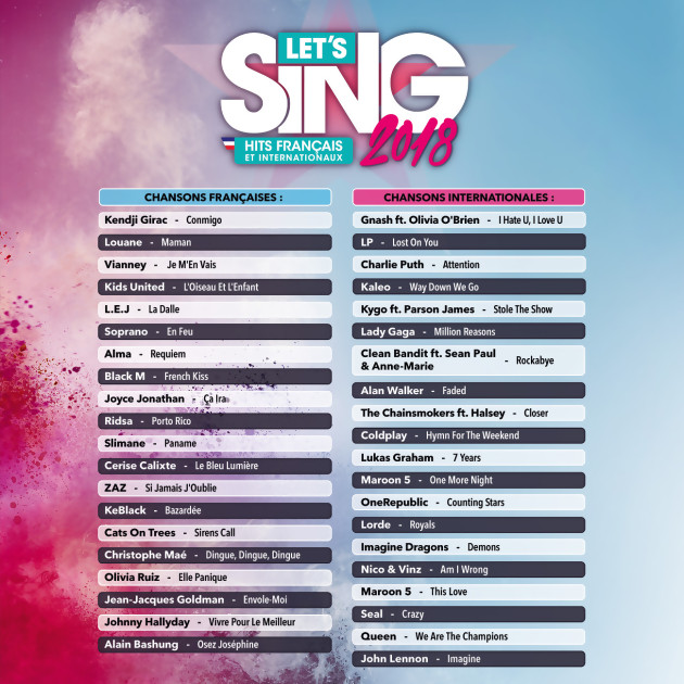 playlist let's sing 2018